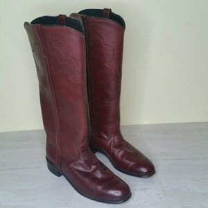 Justin Women's Size 7.5 Tall Riding Boots Burgundy